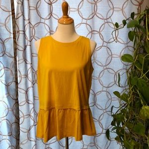 🔥 Old Navy Mustard Peplum Tank Top Large NWT